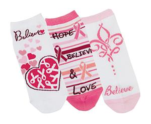 Fashion Socks, 3 Pack, Hope, Believe & Love, Print