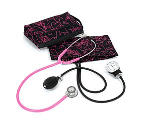 Aneroid Sphygmomanometer / Clinical Lite Stethoscope Kit, Adult, Pink Hearts Black