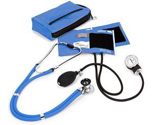Aneroid Sphygmomanometer / Sprague-Rappaport Stethoscope Kit, Adult, Ceil Blue